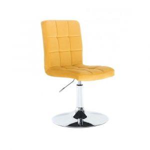 Kosmetická židle TOLEDO VELUR na stříbrném talíři - žlutá