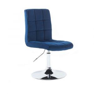 Kosmetická židle TOLEDO VELUR na stříbrném talíři - modrá