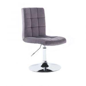 Kosmetická židle TOLEDO VELUR na stříbrném talíři - tmavě šedá