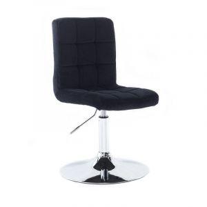 Kosmetická židle TOLEDO VELUR na stříbrném talíři - černá