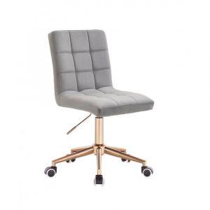Kosmetická židle TOLEDO VELUR na zlaté podstavě s kolečky - světle šedá