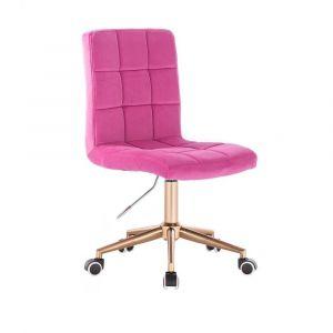 Kosmetická židle TOLEDO VELUR na zlaté podstavě s kolečky - růžová