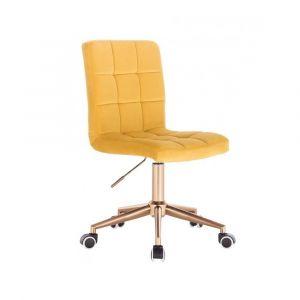 Kosmetická židle TOLEDO VELUR na zlaté podstavě s kolečky - žlutá