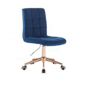 Kosmetická židle TOLEDO VELUR na zlaté podstavě s kolečky - modrá