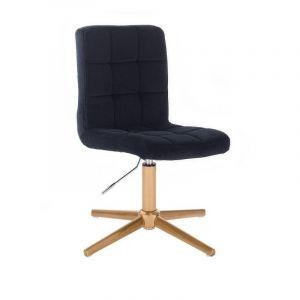 Kosmetická židle TOLEDO VELUR na zlatém kříži - černá