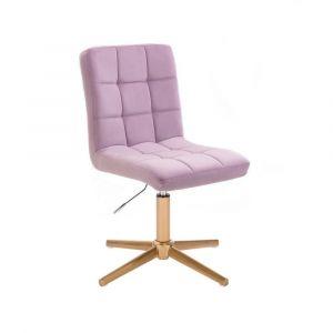 Kosmetická židle TOLEDO VELUR na zlatém kříži - fialový vřes
