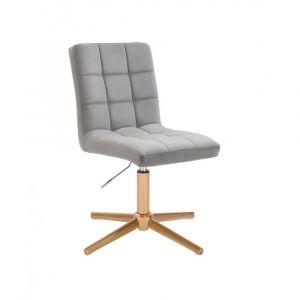 Kosmetická židle TOLEDO VELUR na zlatém kříži - světle šedá