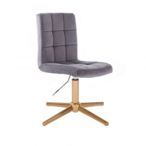 Kosmetická židle TOLEDO VELUR na zlatém kříži - tmavě šedá