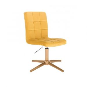 Kosmetická židle TOLEDO VELUR na zlatém kříži - žlutá