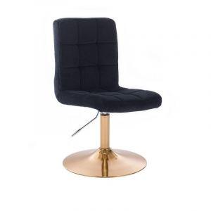 Kosmetická židle TOLEDO VELUR na zlatém talíři - černá