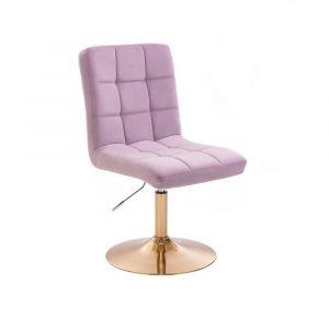 Kosmetická židle TOLEDO VELUR na zlatém talíři - fialový vřes