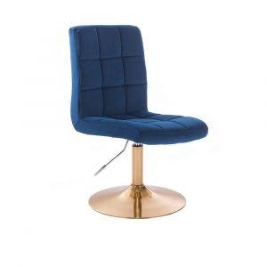 Kosmetická židle TOLEDO VELUR na zlatém talíři - modrá
