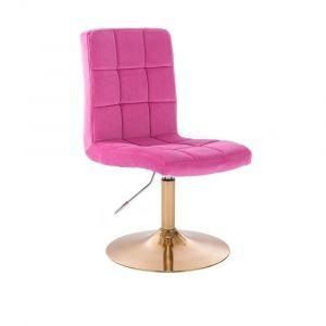 Kosmetická židle TOLEDO VELUR na zlatém talíři - růžová