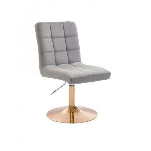 Kosmetická židle TOLEDO VELUR na zlatém talíři - světle šedá