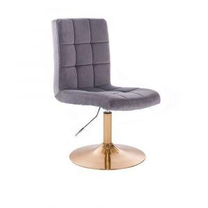 Kosmetická židle TOLEDO VELUR na zlatém talíři - tmavě šedá
