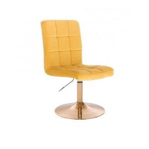 Kosmetická židle TOLEDO VELUR na zlatém talíři - žlutá