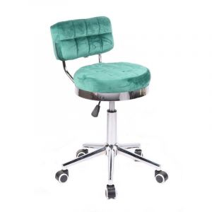 Kosmetická židle VIGO VELUR na stříbrné základně s kolečky - zelená