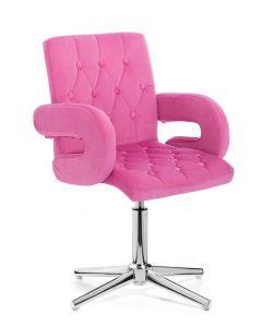 Židle  BOSTON VELUR na stříbrném kříži - růžová
