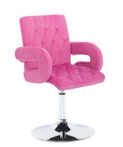 Židle  BOSTON VELUR na stříbrném talíři - růžová