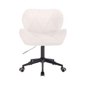 Židle MILANO VELUR na černé podstavě s kolečky - bílá