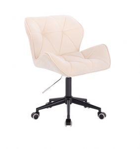 Kosmetická židle MILANO VELUR na černé podstavě s kolečky - krémová