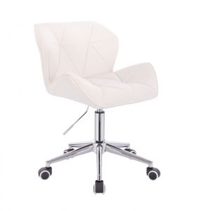 Kosmetická židle MILANO VELUR na stříbrné podstavě s kolečky - bílá