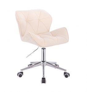 Kosmetická židle MILANO VELUR na stříbrné podstavě s kolečky - krémová