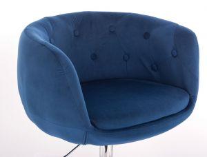 Křeslo MONTANA  VELUR na stříbrné podstavě s kolečky - modré