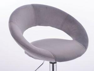 Židle NAPOLI VELUR na stříbrné podstavě s kolečky - tmavě šedá