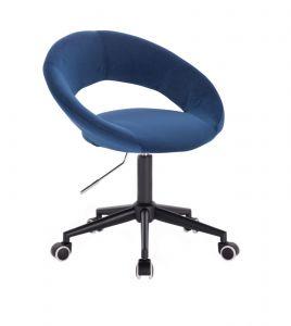 Kosmetická židle NAPOLI VELUR na černé podstavě s kolečky - modrá