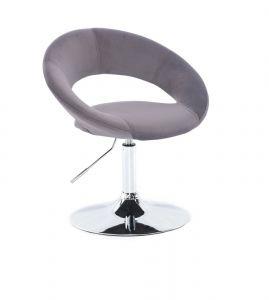 Kosmetická židle NAPOLI VELUR na stříbrném talíři - tmavě šedá