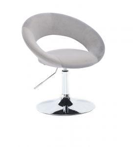 Kosmetická židle NAPOLI VELUR na stříbrném talíři - světle šedá