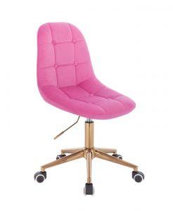 Kosmetická židle SAMSON VELUR na zlaté podstavě s kolečky - růžová