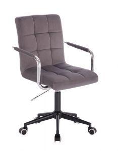 Kosmetická židle VERONA VELUR na černé podstavě s kolečky - tmavě šedá