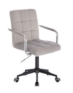 Kosmetická židle VERONA VELUR na černé podstavě s kolečky - světle šedá