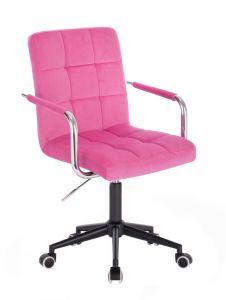 Kosmetická židle VERONA VELUR na černé podstavě s kolečky - růžová