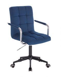 Kosmetická židle VERONA VELUR na černé podstavě s kolečky - modrá