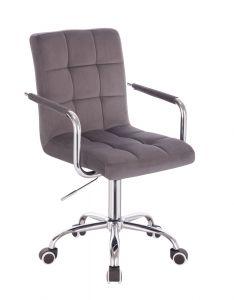 Kosmetická židle VERONA VELUR na stříbrné podstavě s kolečky - tmavě šedá