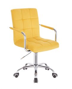 Kosmetická židle VERONA VELUR na stříbrné podstavě s kolečky - žlutá