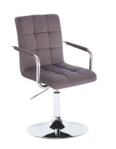 Kosmetická židle VERONA VELUR na stříbrném talíři - tmavě šedá