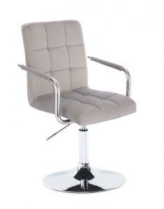 Kosmetická židle VERONA VELUR na stříbrném talíři - světle šedá