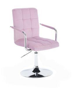 Kosmetická židle VERONA VELUR na stříbrném talíři - fialový vřes