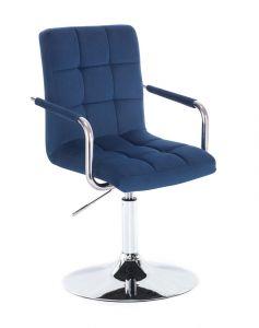 Kosmetická židle VERONA VELUR na stříbrném talíři - modrá