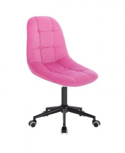 Židle SAMSON VELUR na černé podstavě s kolečky - růžová