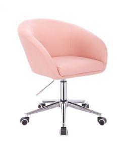 Židle VENICE na stříbrné podstavě s kolečky - růžová