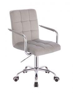 Židle VERONA VELUR na stříbrné podstavě s kolečky - světle šedá