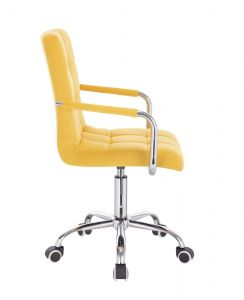 Židle VERONA VELUR na stříbrné podstavě s kolečky - žlutá