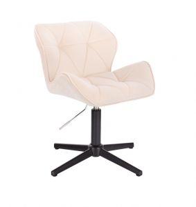 Kosmetická židle MILANO VELUR na černém kříži - bílá