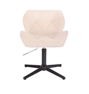 Kosmetická židle MILANO VELUR na černém kříži - krémová
