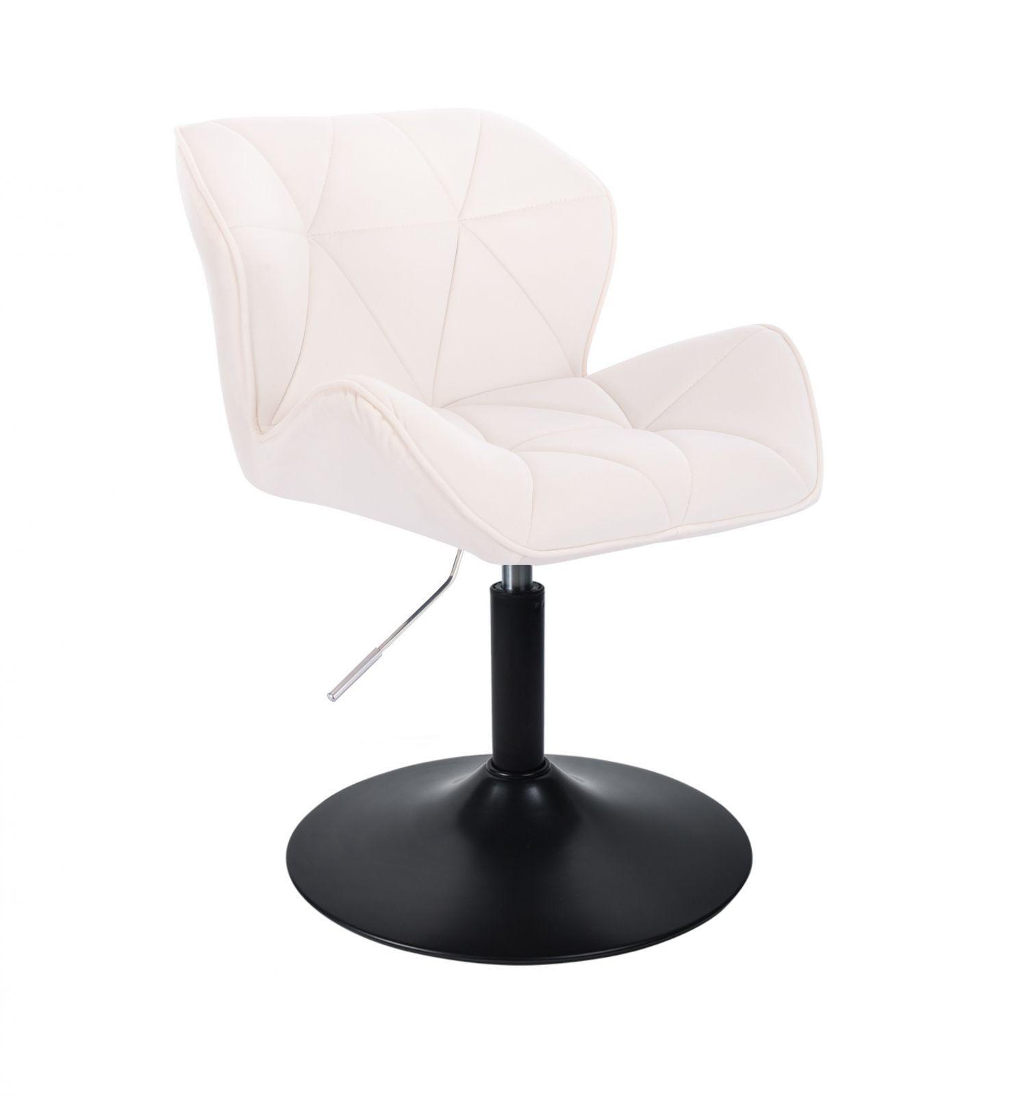 Kosmetická židle MILANO VELUR na černém talíři - bílá